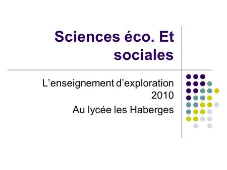 Sciences éco. Et sociales