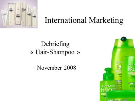 International Marketing Debriefing « Hair-Shampoo » November 2008.