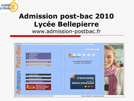 Admission post-bac 2010 Lycée Bellepierre