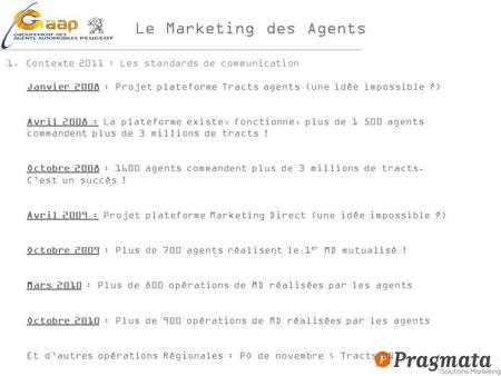 Le Marketing des Agents 1.Contexte 2011 : Les standards de communication Janvier 2008 : Projet plateforme Tracts agents (une idée impossible ?) Avril 2008.