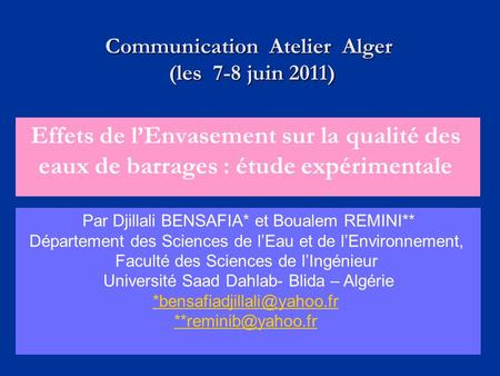 Communication Atelier Alger