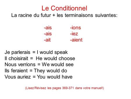 Le Conditionnel La racine du futur + les terminaisons suivantes: