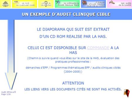 UN EXEMPLE D'AUDIT CLINIQUE CIBLE