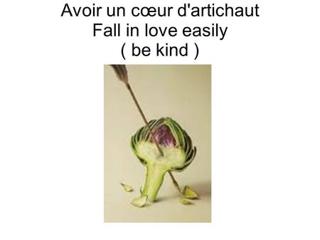 Avoir un cœur d'artichaut Fall in love easily ( be kind )