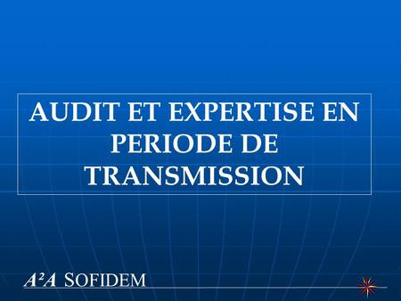 AUDIT ET EXPERTISE EN PERIODE DE TRANSMISSION