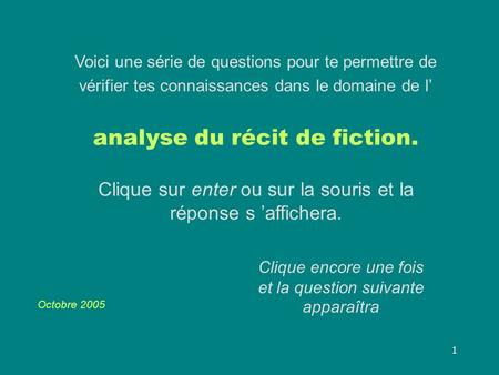 analyse du récit de fiction.