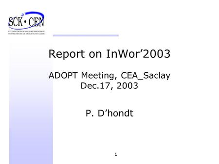 1 Report on InWor2003 ADOPT Meeting, CEA_Saclay Dec.17, 2003 P. Dhondt.
