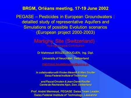 BRGM, Orléans meeting, 17-19 June 2002 PEGASE – Pesticides in European Groundwaters : detailled study of representative Aquifers and Simulations of possible.