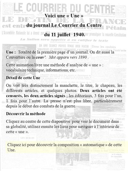 du journal Le Courrier du Centre