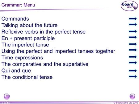 © Boardworks Ltd 2005 1 of 67 Commands Talking about the future Reflexive verbs in the perfect tense En + present participle The imperfect tense Using.