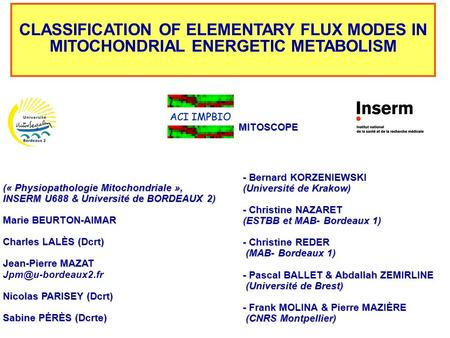 CLASSIFICATION OF ELEMENTARY FLUX MODES IN MITOCHONDRIAL ENERGETIC METABOLISM (« Physiopathologie Mitochondriale », INSERM U688 & Université de BORDEAUX.