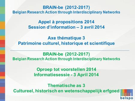 BRAIN-be (2012-2017) Belgian Research Action through Interdisciplinary Networks Appel à propositions 2014 Session dinformation – 3 avril 2014 Axe thématique.