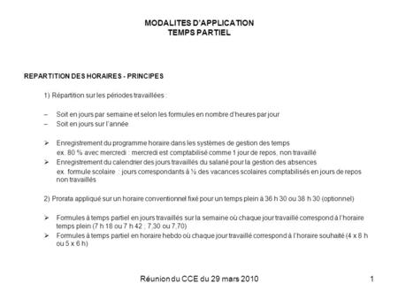MODALITES D'APPLICATION TEMPS PARTIEL