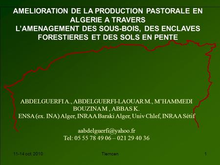 AMELIORATION DE LA PRODUCTION PASTORALE EN ALGERIE A TRAVERS