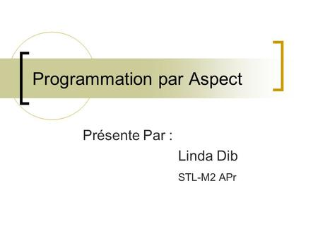 Programmation par Aspect
