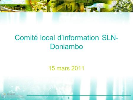 1 Comité local dinformation SLN- Doniambo 15 mars 2011.
