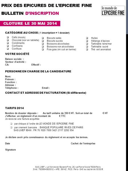 prix DES EPICURES DE l'EPICERIE FINE BULLETIN d'INSCRIPTION