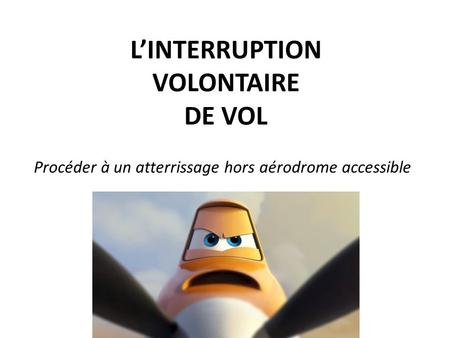 L'INTERRUPTION VOLONTAIRE DE VOL