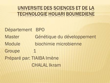 UNIVERSITE DES SCIENCES ET DE LA TECHNOLOGIE HOUARI BOUMEDIENE
