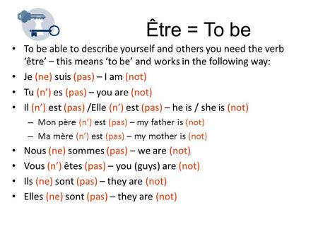 Être = To be To be able to describe yourself and others you need the verb 'être' – this means 'to be' and works in the following way: Je (ne) suis (pas)