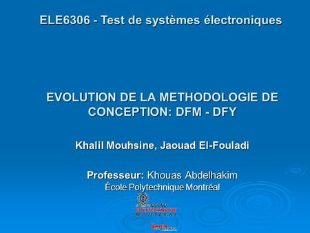 EVOLUTION DE LA METHODOLOGIE DE CONCEPTION: DFM - DFY