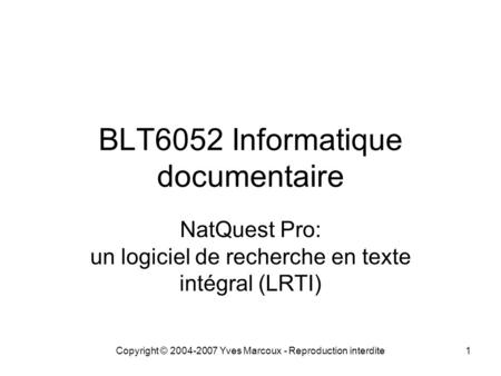 BLT6052 Informatique documentaire