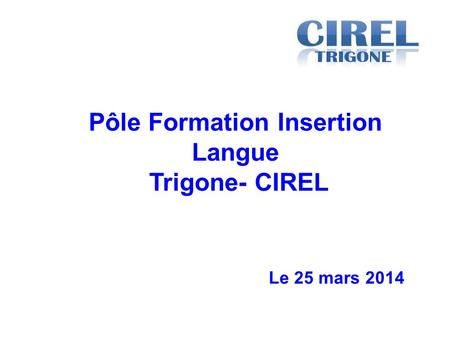 Le 25 mars 2014 Pôle Formation Insertion Langue Trigone- CIREL.