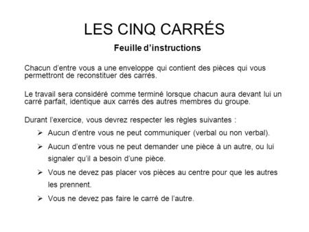 Feuille d'instructions