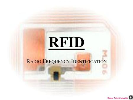RFID R ADIO F REQUENCY I DENTIFICATION Retour Point dactualité