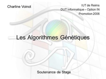 Les Algorithmes Génétiques Charline Voinot Soutenance de Stage IUT de Reims DUT Informatique – Option IN Promotion 2006.