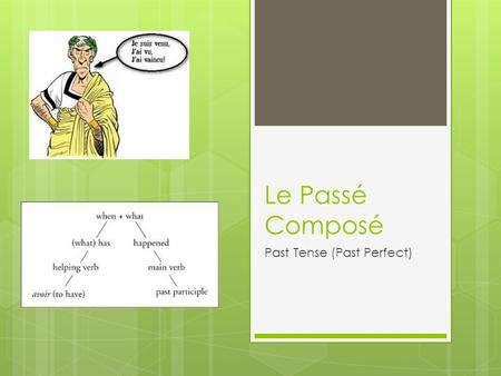 Le Passé Composé Past Tense (Past Perfect). The passé composé The passé composé expresses what happened in the past (sometimes called the past perfect.