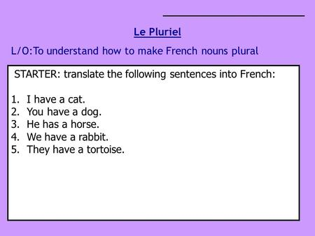 Le Pluriel L/O:To understand how to make French nouns plural STARTER: translate the following sentences into French: 1.I have a cat. 2.You have a dog.