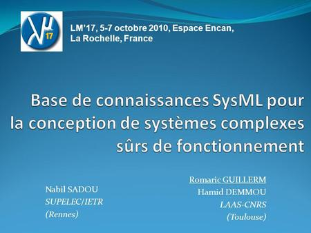 Romaric GUILLERM Hamid DEMMOU LAAS-CNRS (Toulouse)