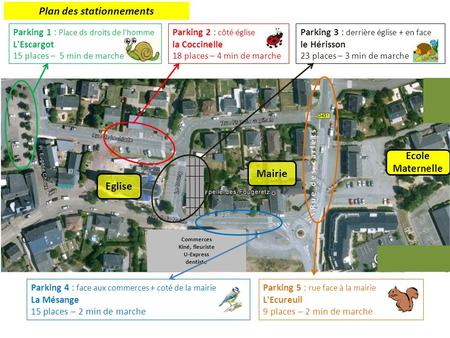Parking 1 : Place ds droits de l'homme L'Escargot 15 places – 5 min de marche Parking 3 : derrière église + en face le Hérisson 23 places – 3 min de marche.