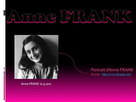 Portrait d'Anne FRANK Source: