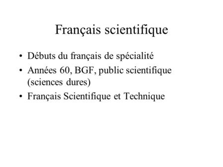 Français scientifique