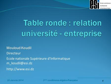 Table ronde : relation université - entreprise