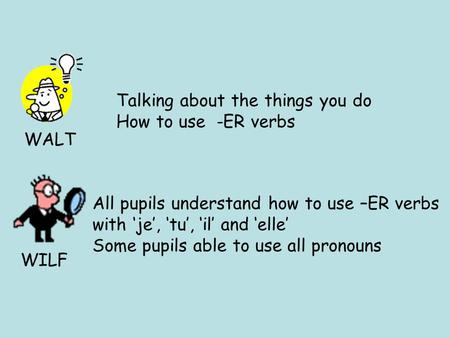 WALT WILF Talking about the things you do How to use -ER verbs All pupils understand how to use –ER verbs with je, tu, il and elle Some pupils able to.