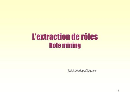 L'extraction de rôles Role mining