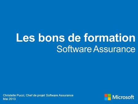 Les bons de formation Software Assurance