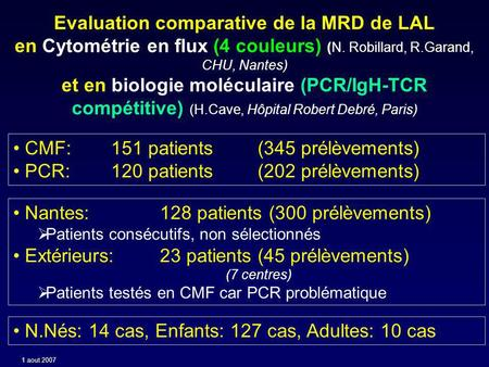 Evaluation comparative de la MRD de LAL