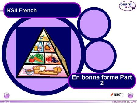 © Boardworks Ltd 2005 1 of 22 KS4 French En bonne forme Part 2.
