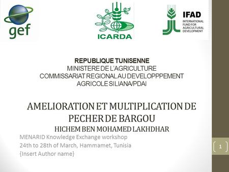 REPUBLIQUE TUNISENNE MINISTERE DE L'AGRICULTURE COMMISSARIAT REGIONAL AU DEVELOPPPEMENT AGRICOLE SILIANA/PDAI AMELIORATION ET MULTIPLICATION DE PECHER.