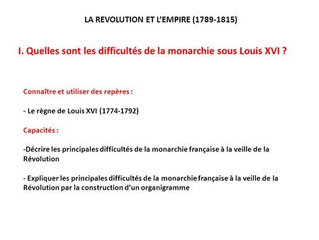 LA REVOLUTION ET L'EMPIRE ( )