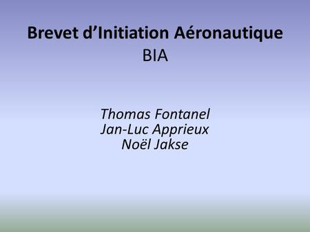 Brevet d'Initiation Aéronautique BIA