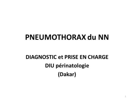 DIAGNOSTIC et PRISE EN CHARGE