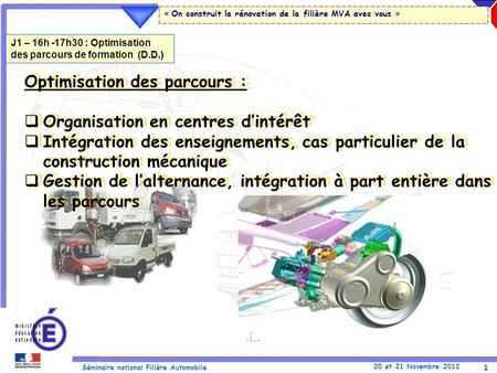 1 Séminaire national Filière Automobile 20 et 21 Novembre 2012 « On construit la rénovation de la filière MVA avec vous » Optimisation des parcours : Organisation.