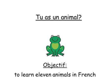 Tu as un animal? Objectif: to learn eleven animals in French.