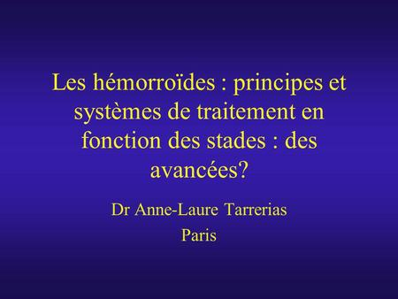Dr Anne-Laure Tarrerias Paris