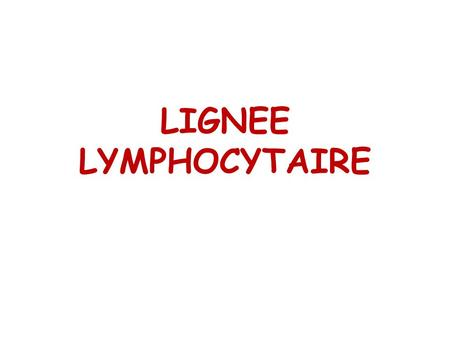 LIGNEE LYMPHOCYTAIRE.